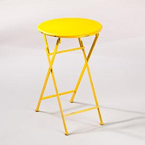 Yellow Metal Folding Accent Table Outdoor And Patio