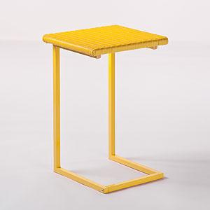Yellow All Weather Wicker Laptop Table Outdoor And Patio