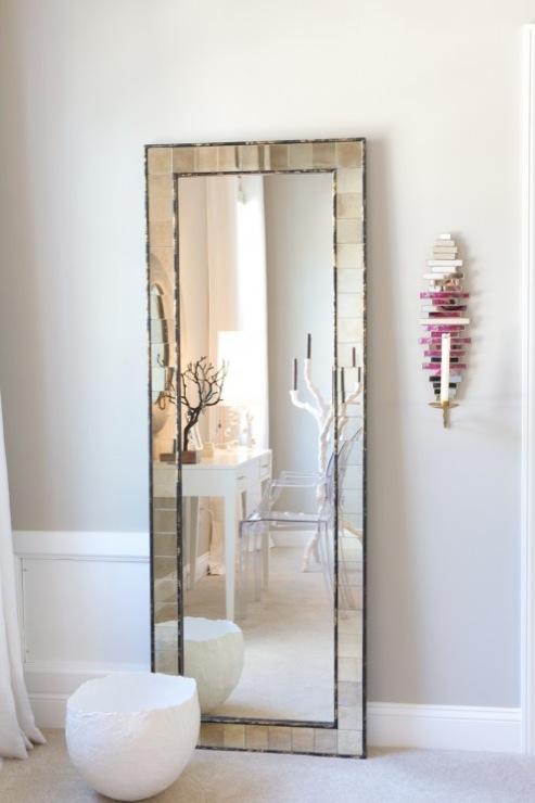 West Elm Antique Tiles Floor Mirror Contemporary Den