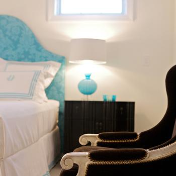 Turquoise Upholstery, Contemporary, bedroom, Heather Garrett Design
