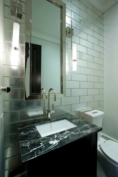 Mirrored Tiles Backsplash Contemporary Bathroom Michael Abrams Limited