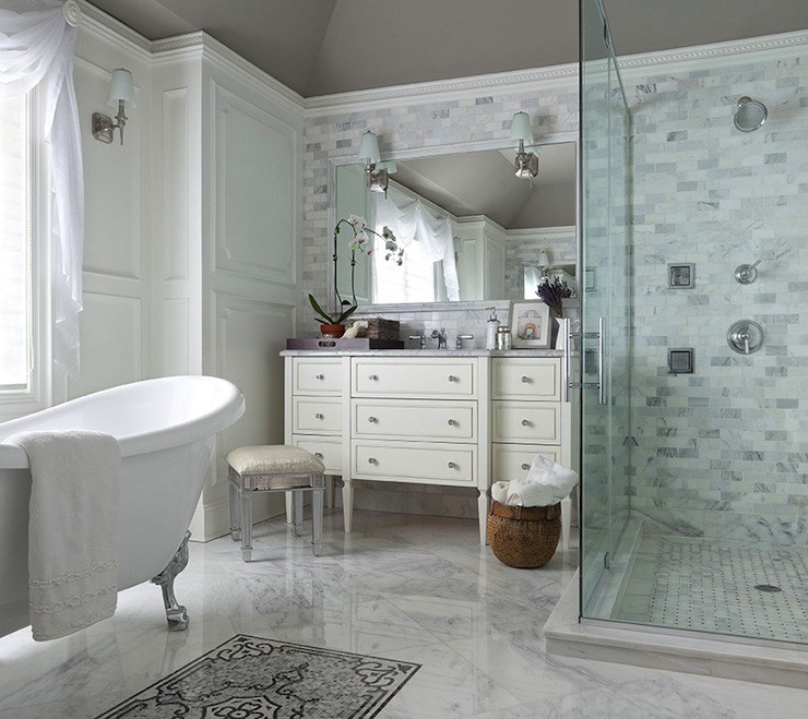 Mirrored vanity stool transitional bathroom the for Elegant master bathroom ideas
