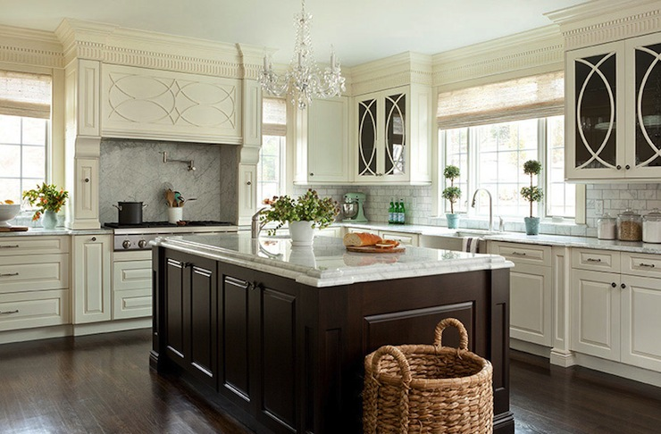 kitchen design with ivory kitchen cabinets, espresso stained kitchen