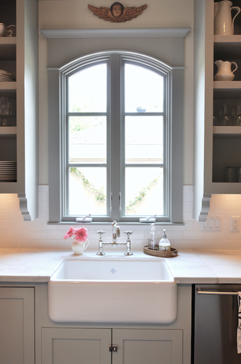 Gorgeous Gray Kitchen Design With Gray Kitchen Cabinets With Marble  Countertops, Open Cabinets, Farmhouse Sink And Bridge Faucet.