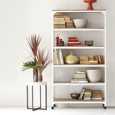 White Wood Shelves : Whitewashed Wood + Metal Shelves - west elm