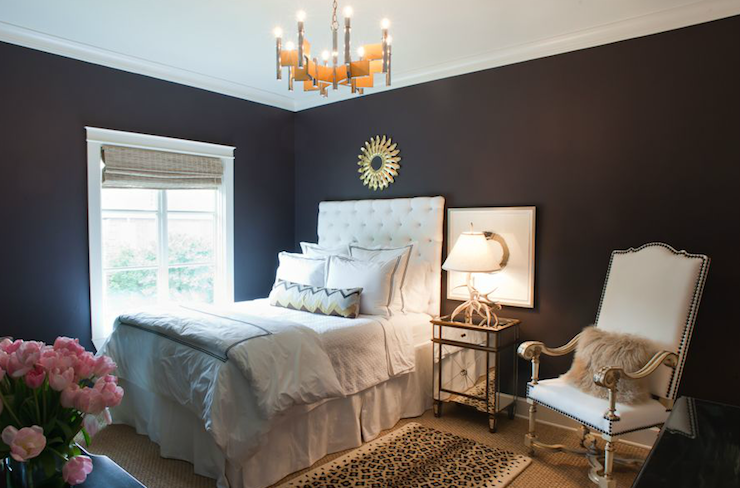view full size  Glam bedroom design with black walls. Black And Gold French Nightstand Design Ideas