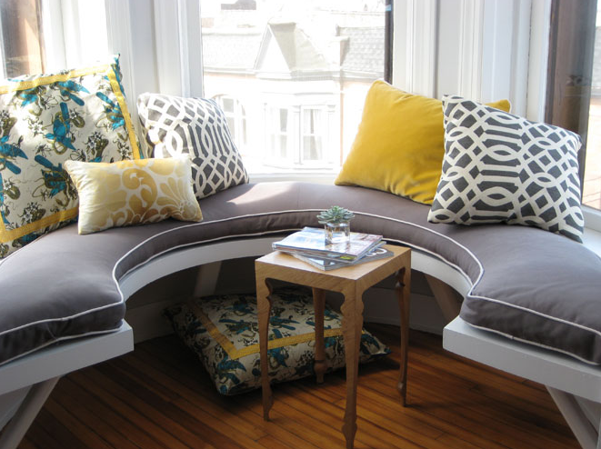 gorgeous builtin u shaped custom window seat with purple cushion with white piping yellow velvet pillows white u0026 gold damask pillow and kelly wearstler