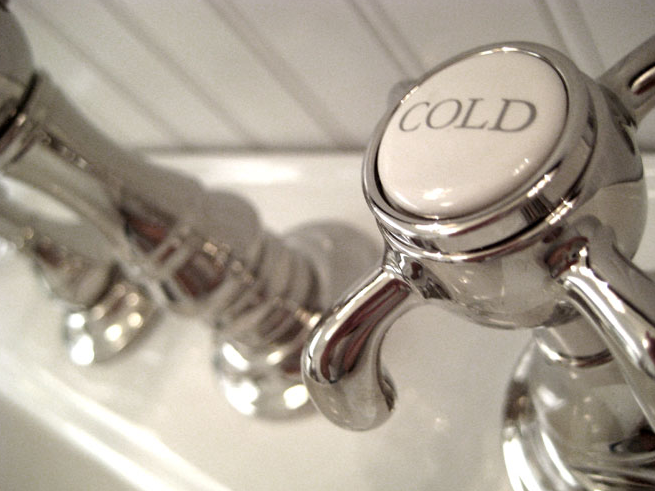 Vintage Hot and Cold Faucet - Cottage - bathroom - Summer Thornton ...