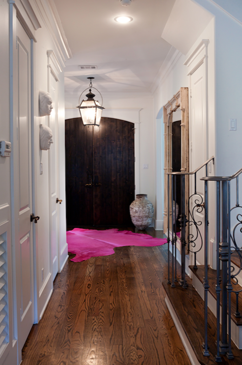 Pink Foyer Rug : Pink cowhide rug eclectic entrance foyer sally wheat