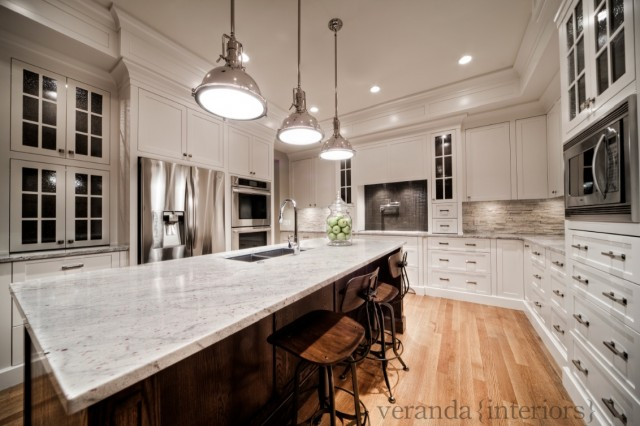 ... Coffee Stained Oak Kitchen Island, River White Granite Countertops,  Restoration Hardware Harmon Pendants, Restoration Hardware Vintage Toledo  ...