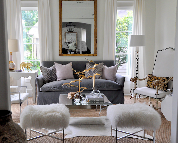 Gray velvet sofa eclectic living room sally wheat for Living room decorating ideas grey couch