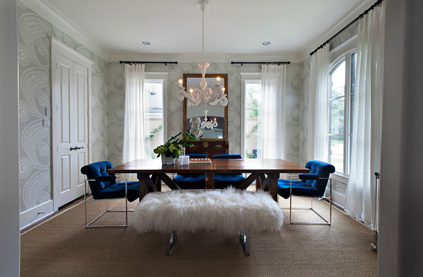Amazing Dining Room With Cole Son Rajapur Wallpaper Cobalt Blue Velvet Chairs And White Shag Bench