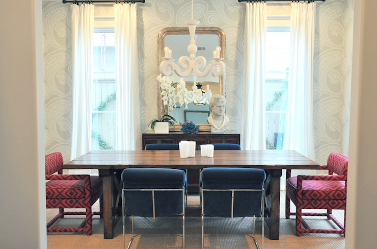 cobalt blue chairs - contemporary - dining room - sally wheat