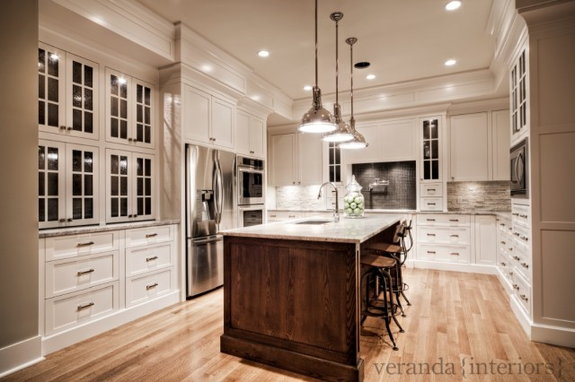 Beautiful Two Tone Kitchen Design With Creamy White Kitchen Cabinets Painted Benjamin Moore White Dove Coffee Stained Oak Kitchen Island