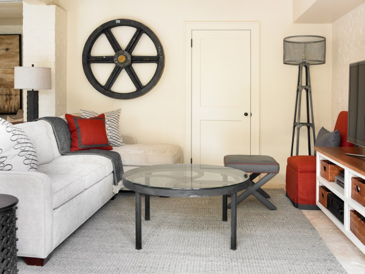 Red And Gray Family Room Contemporary Media Room