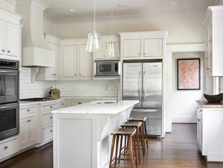 white kitchen design with creamy white shaker kitchen & kitchen