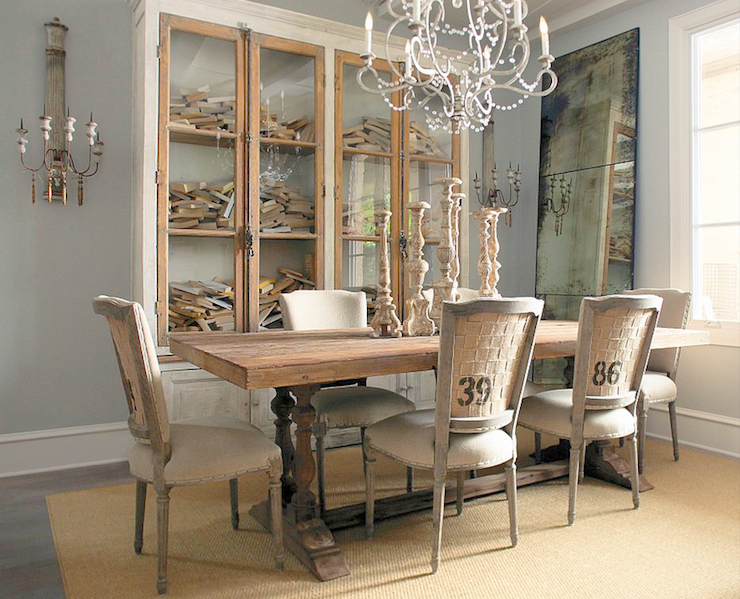 Gray washed dining table design ideas for Dining room ideas grey