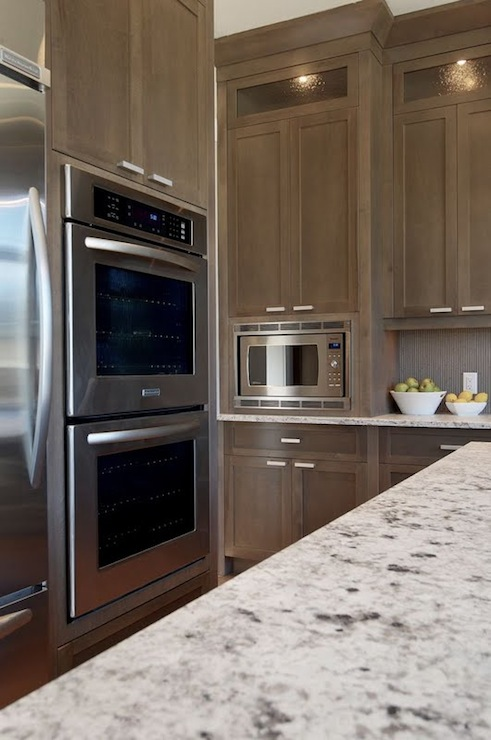 White granite countertops transitional kitchen for Brown grey kitchen cabinets