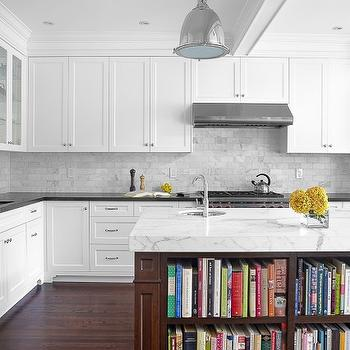 Statuario Marble Countertops, Contemporary, kitchen, Benjamin Moore Chantilly Lace, Palmerston Design