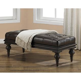 Tufted Bicast Leather Bench, Overstock.com