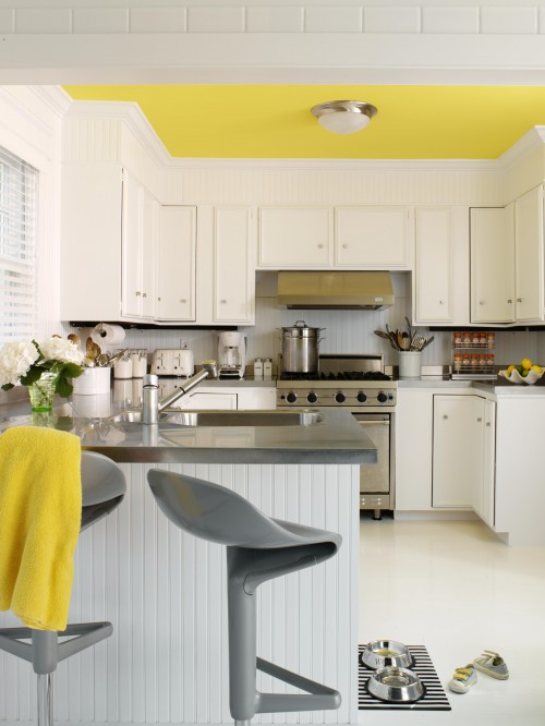 Yellow and gray kitchen contemporary kitchen tara for Modern yellow kitchen cabinets