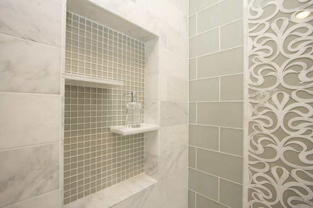 Contemporary Bathrooms With Subway Tile green subway tile shower - contemporary - bathroom - robeson design