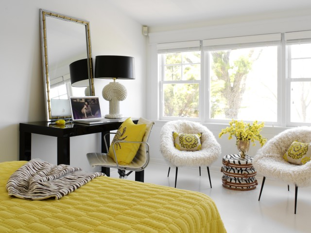 Fun Yellow U0026 Black Bedroom With Glossy Black West Elm Parsons Desk, Eames  Management Office Chair, Yellow Pillow, Silver Faux Bamboo Mirror, Yellow  Quilt ...