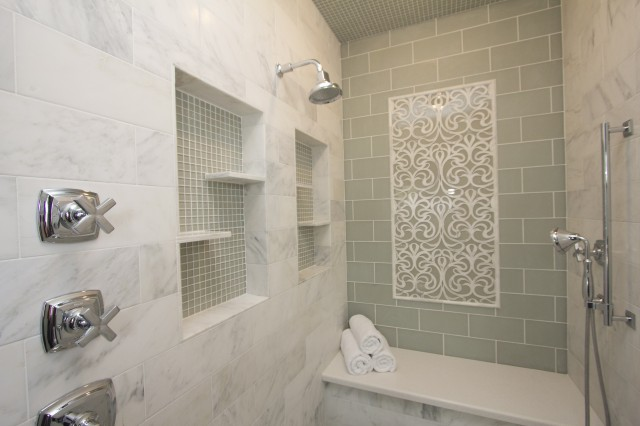 Green subway tile backsplash contemporary bathroom for Bathroom ideas using subway tile