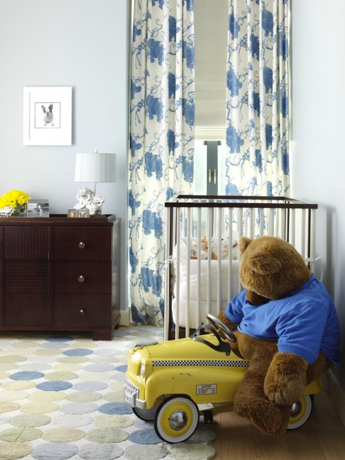 fun blue yellow boys bedroom with pale blue walls paint color white blue floral curtains layered over white roman shades blue green dots rug and - Blue And Yellow Bedroom Rugs