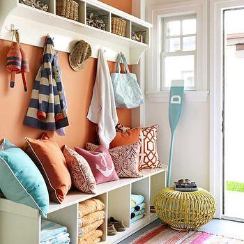 Mudroom Design, Cottage, laundry room, Benjamin Moore Fresno, House Beautiful