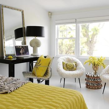 fun yellow black bedroom with glossy black west elm parsons desk