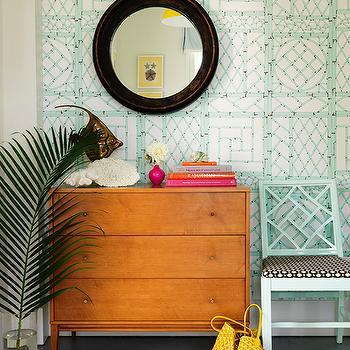 Tropical Foyer, Cottage, entrance/foyer, Mona Ross Berman Interiors