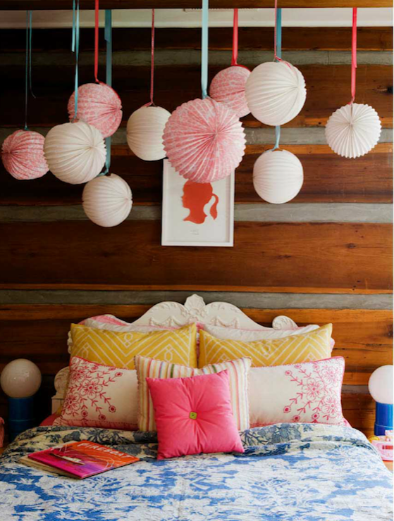 paper lanterns over bed eclectic girl 39 s room melanie acevedo photography. Black Bedroom Furniture Sets. Home Design Ideas
