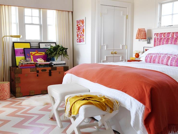 Orange Bedspread, Cottage, bedroom, Benjamin Moore Salmon Berry, Mona Ross Berman Interiors
