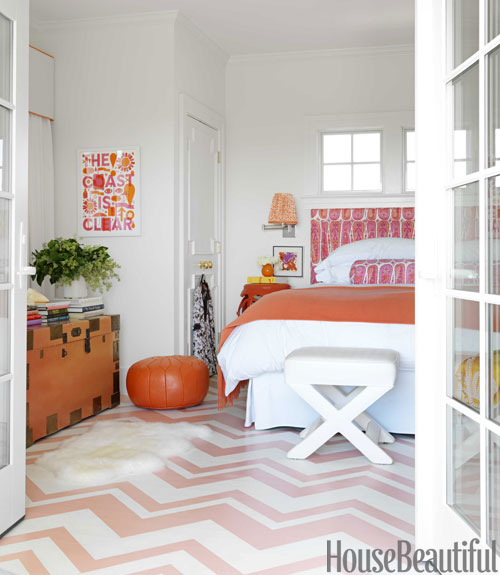pink chevron floor contemporary bedroom benjamin moore salmon