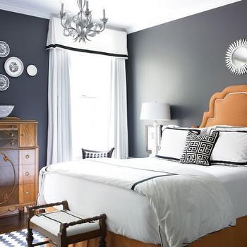 Orange Headboard, Eclectic, bedroom, Courtney Giles Interiors
