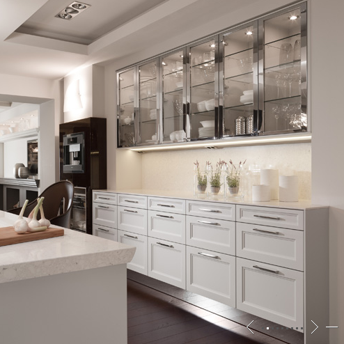 Glass Front Stainless Steel Cabinet Doors And White Kitchen Cabinets