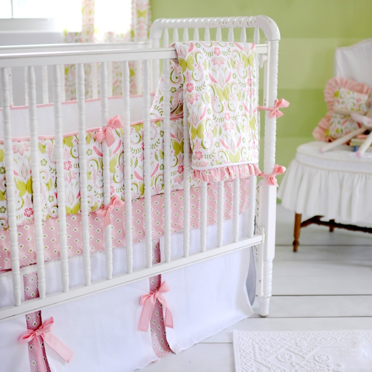 Pink And Green Crib Bedding Transitional Nursery New Arrivals Inc