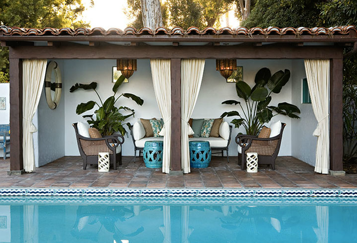 Pool cabana transitional pool kristen hutchins design for Outdoor pool cabana