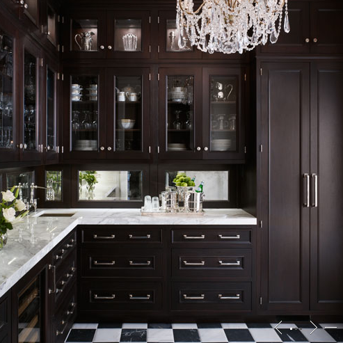 Mirror backsplash traditional kitchen de giulio - Black kitchen cabinets small kitchen ...