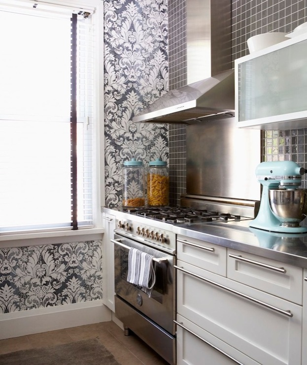 kitchen with white & blue damask wallpaper, white modern kitchen