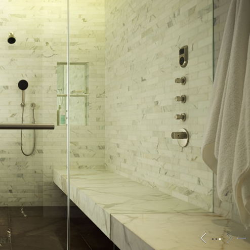 Amazing Master Bathroom Design With Seamless Glass Shower Marble Slab Bench And Subway Tiles Surround
