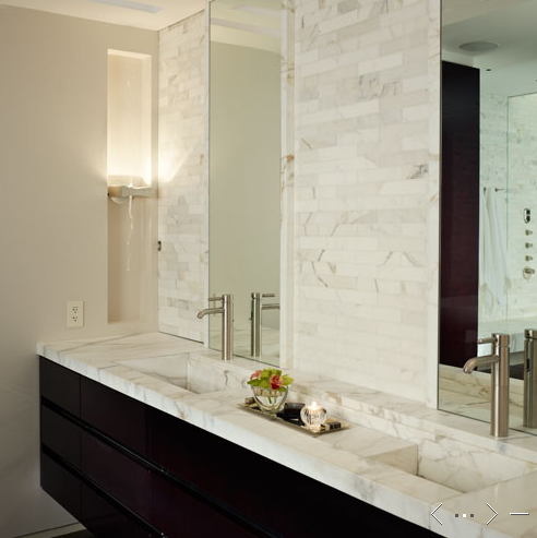 Floating Marble Vanity Contemporary Bathroom