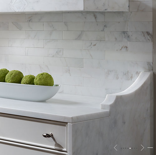 marble subway tiled backsplash transitional kitchen de giulio