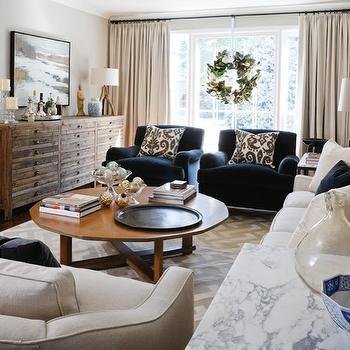 Blue Velvet Chairs, Eclectic, living room, Cameron MacNeil Designer