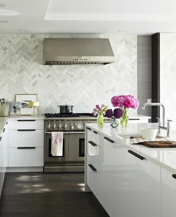 White Kitchen Herringbone Backsplash herringbone pattern backsplash design ideas