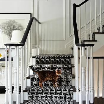 Greek Key Stair Runner, Transitional, entrance/foyer, Virginia Macdonald Photography