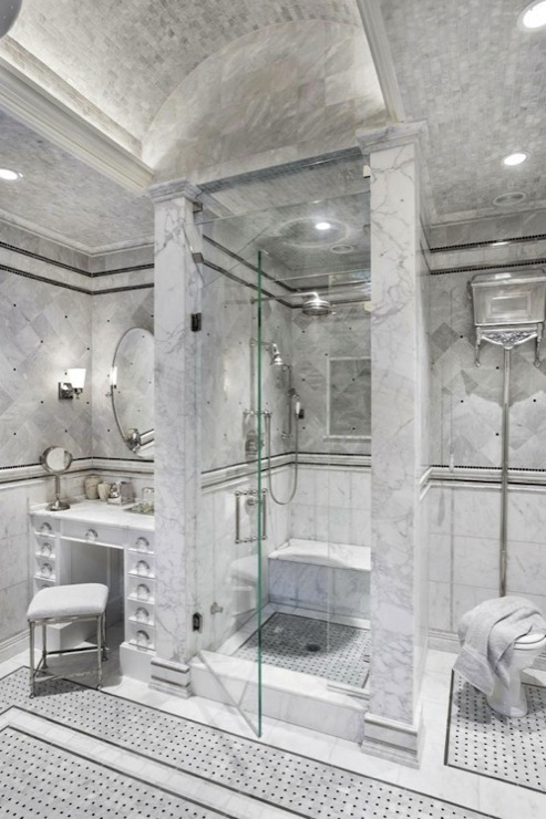 Marble Shower Design Transitional Bathroom Artsaics