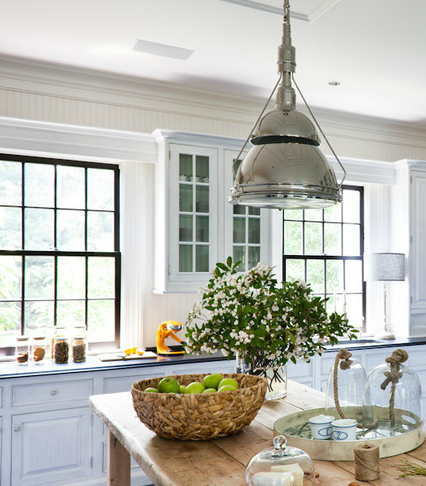 Industrial Pendant Lighting, Cottage, kitchen, Thom Filicia