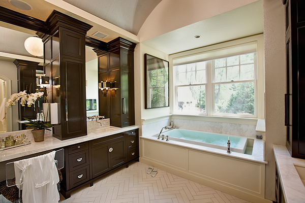 Chocolate Brown Cabinets Transitional Bathroom